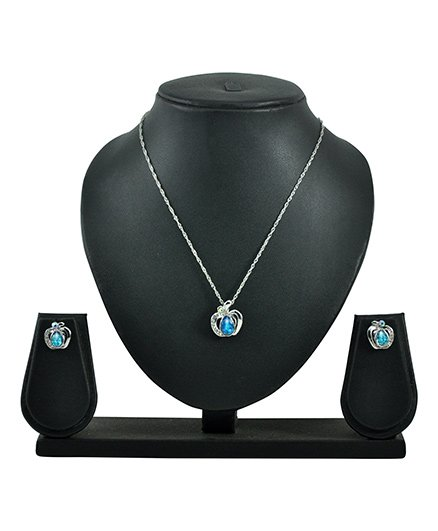 Angel GlitterDual Apple Heart Crystal Necklace Set - Blue