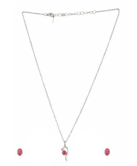 Angel GlitterStlylish Leaf Stone Crystal Necklace Set - Pink