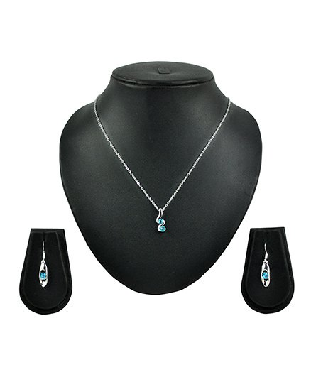 Angel GlitterTwo Stone Twisted S Crystal Necklace Set - Blue