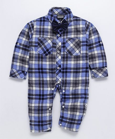 Rikidoos Full Sleeves Plaid Romper With Bow - Blue