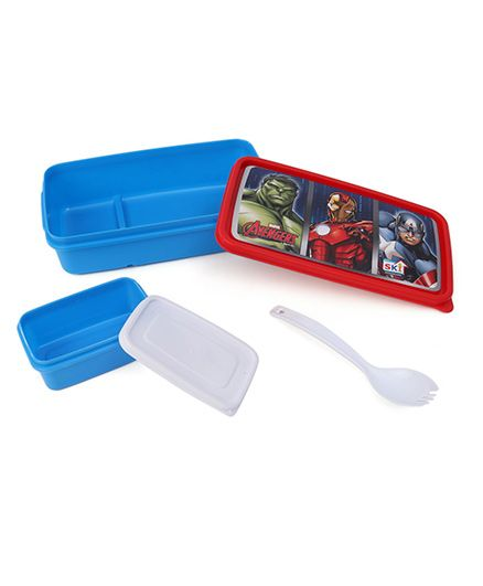 Marvel Avengers Lunch Box With 2 In 1 Fork & Spoon - Red Blue