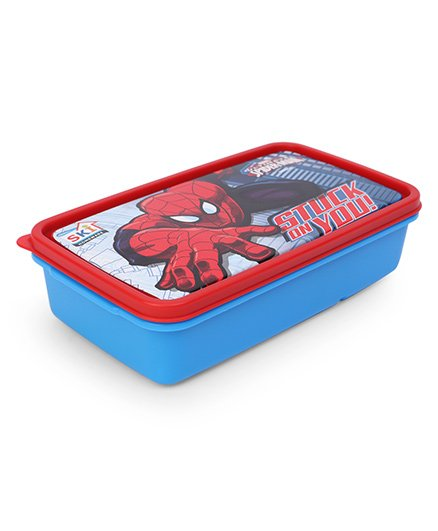 Marvel Lunch Box With 2 In 1 Fork & Spoon - Red Blue