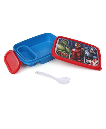 Marvel Avengers Lunch Box With 2 In 1 Fork Spoon - Red Blue