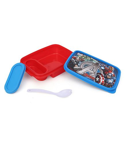 Marvel Avengers Lunch Box With 2 In 1 Fork & Spoon - Blue Red