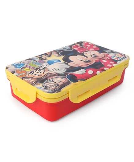 Disney Mickey And MInnie Lunch Box With 2-in-1 Spoon & Fork - Red Yellow