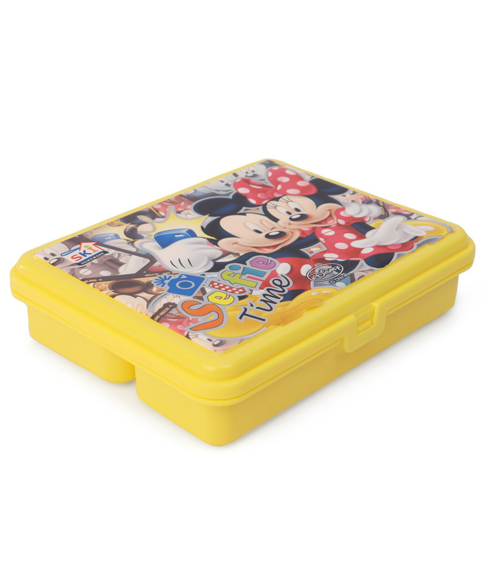 Disney Mickey & MInnie Lunch Box With 3 Compartments - Yellow
