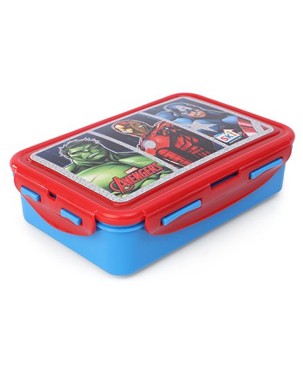 Marvel Avengers Lunch Box With Clip Lock Feature - Red Blue