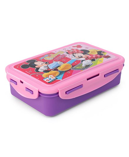 Disney Mickey & Friends Lunch Box With Clip Lock & Fork - Purple Pink