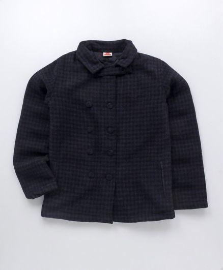 UFO Full Sleeves Winter Jacket Checks Design - Black