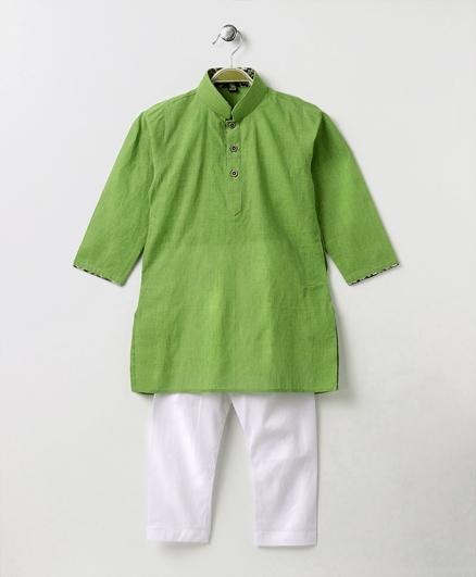 Enfance Half Button Closure Kurta Pyajama Set - Green