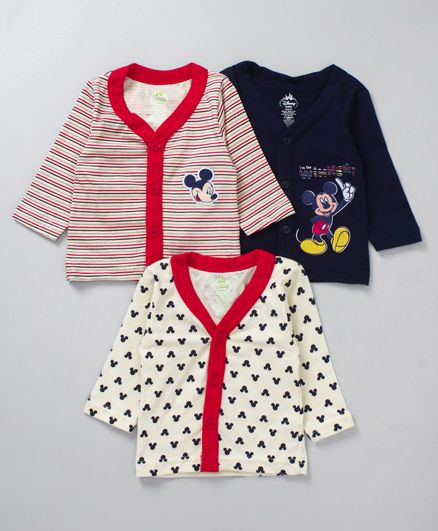 Bodycare Full Sleeves Vest Mickey Print Pack of 3 - Red & Blue