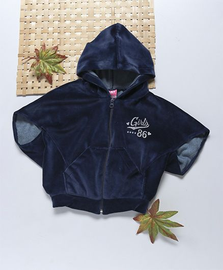 Little Kangaroos Half Sleeves Hooded Jacket Text Patch - Navy