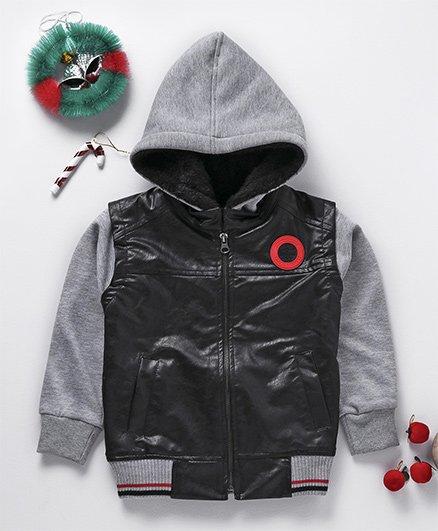 Little Kangaroos Full Sleeves Leather Hooded Jacket - Grey & Black