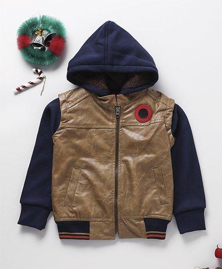 Little Kangaroos Full Sleeves Leather Hooded Jacket - Brown & Blue