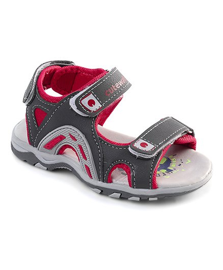 Cute Walk by Babyhug Sandals With Triple Velcro Closure - Grey Red