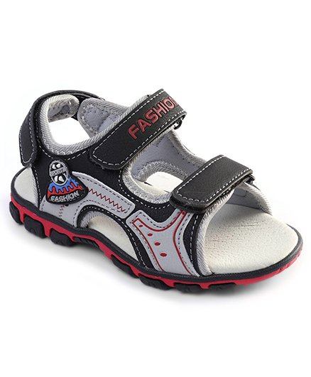 Cute Walk by Babyhug Sandals With Triple Velcro Closure - Black Grey