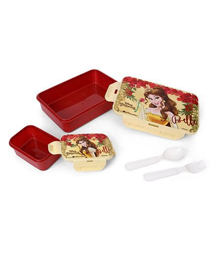 Disney Belle Lunch Box With Spoon, Fork & Small Box - Maroon & Cream