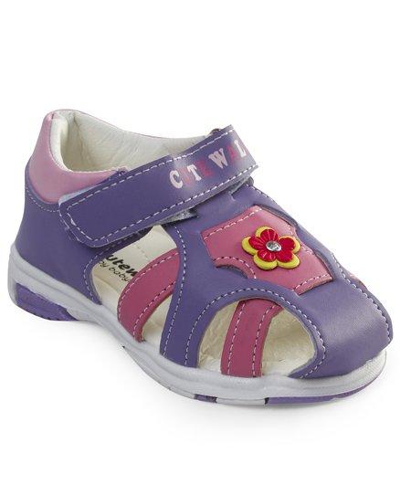 Cute Walk by Babyhug Sandals With Velcro Closure Floral Motifs - Purple Pink
