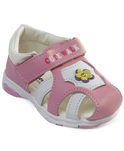 Cute Walk by Babyhug Sandals With Velcro Closure Floral Motifs - Pink White