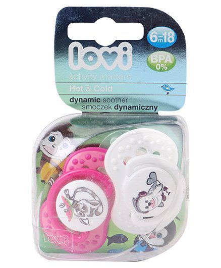 Lovi Dynamic Hot And Cold Silicone Soothers Pack Of 2 - Pink & White