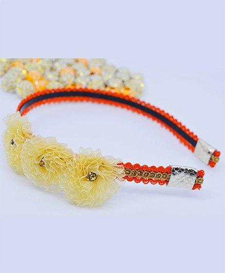 Little Tresses Partywear Flower Hairband - Orange & Golden