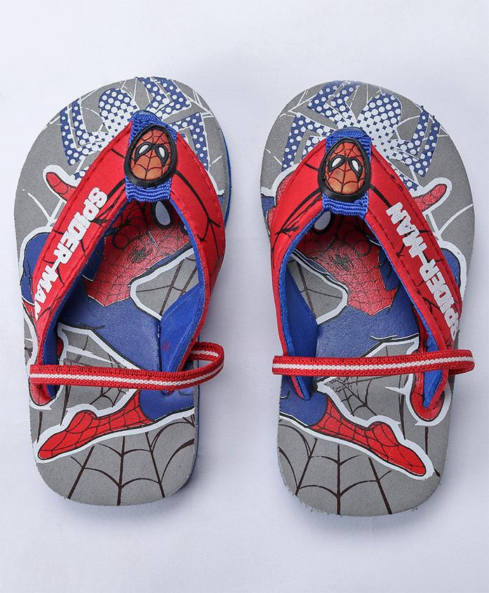 Spider Man Printed Flip Flops - Grey Royal Blue
