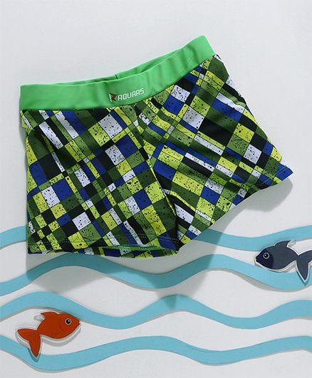 Rovars Short Length Swimming Trunks Printed - Green