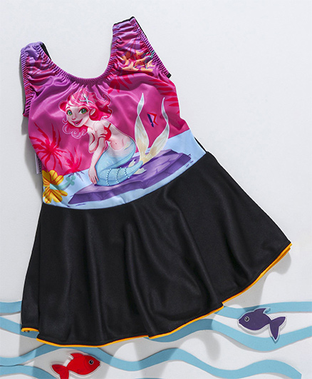 Rovars Sleeveless Frock Swimsuit Printed - Pink Black