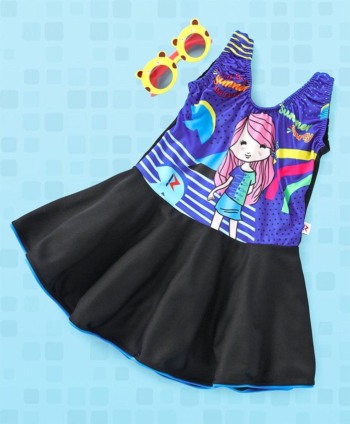 Rovars Sleeveless Frock Swimsuit Printed - Blue Black