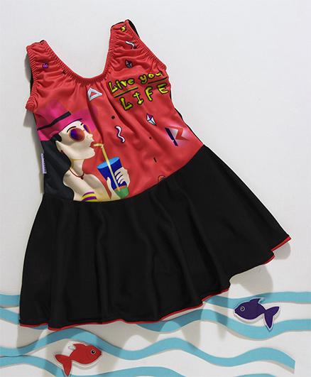 Rovars Sleeveless Frock Style Swimsuit - Blue & Black