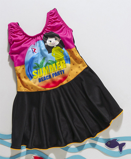 Rovars Sleeveless Frock Swimsuit Printed - Pink Yellow Black