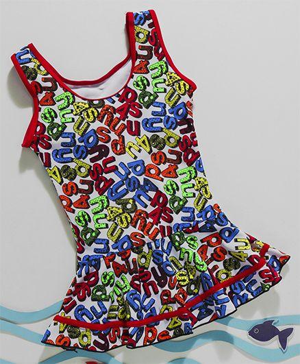 Rovars Sleeveless Frock Swimsuit Alphabet Print - Multi Color