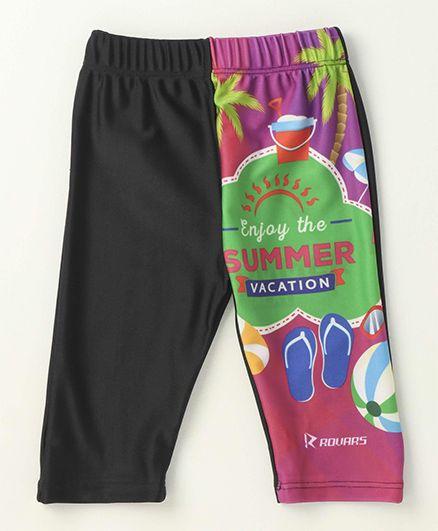 Rovars Three Fourth Swimming Trunks Summer Vacation Print - Black & Multicolor