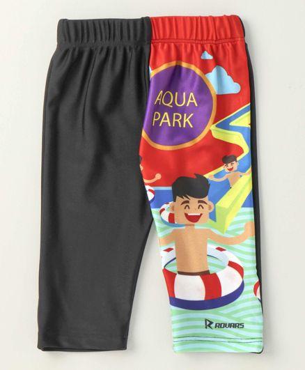 Rovars Three Fourth Swimming Trunks Aqua Park Print - Black & Multicolor
