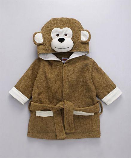 Babyhug Full Sleeves 3D Hooded Bathrobe Monkey Design - Brown