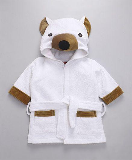 Babyhug Full Sleeves 3D Hooded Bathrobe - White Brown