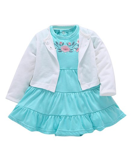 Pre Order - Awabox Embroidered Onesie Dress With Shrug - Blue & White