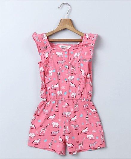 Beebay Animal Print Jumpsuit - Pink
