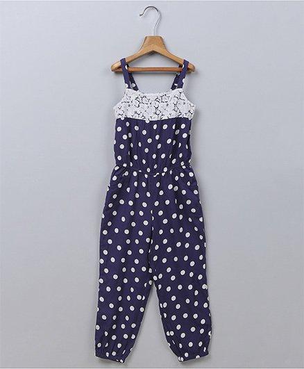 Beebay Polka Dot Lace Trim Jumpsuit - Navy Blue