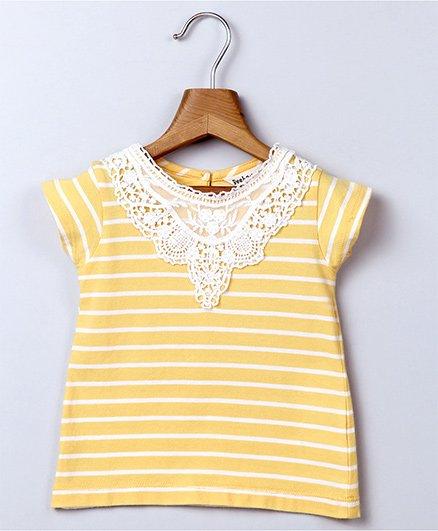 Beebay Lace Yoke Stripe Top - Yellow