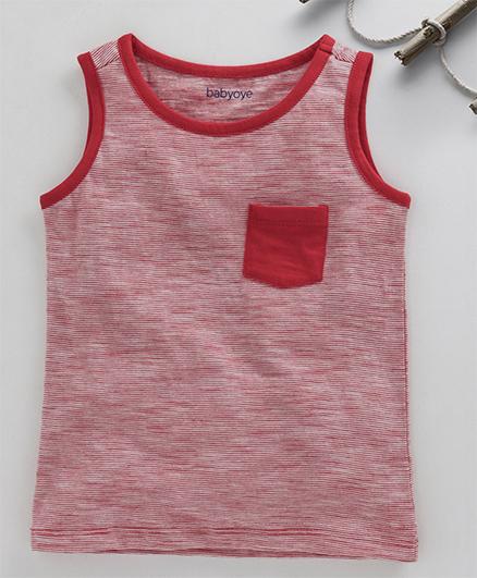 Babyoye Sleeveless Tee Stripes Print - Red