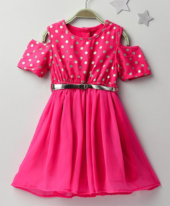 Soul Fairy Cold Shoulder Foil Print Dress - Pink