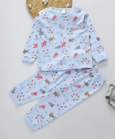 ToffyHouse Full Sleeves Night Suit Bear Print - Sky Blue