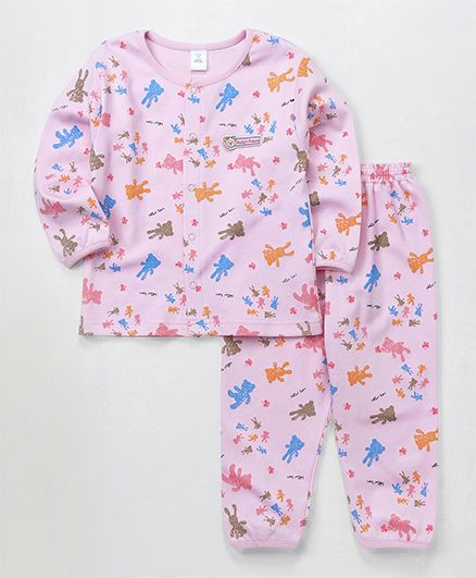 ToffyHouse Full Sleeves Night Suit Bear Print - Pink