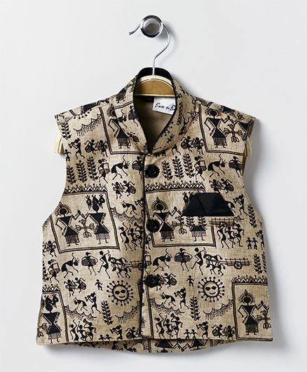 Bownbee Printed Ethnic Jacket - Brown