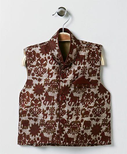 Bownbee Horse Print Ethnic Jacket - Maroon
