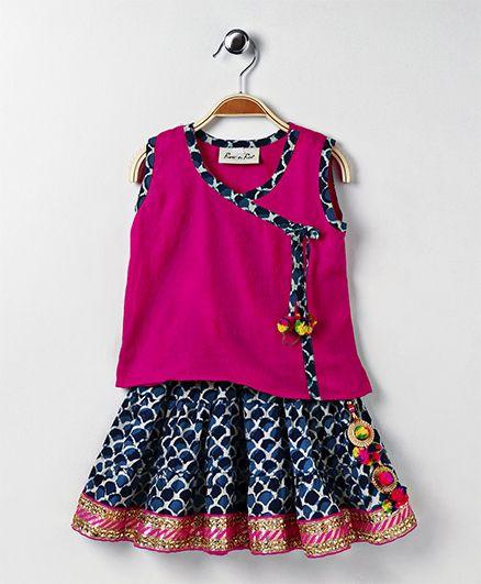 Bownbee Ethnic Skirt & Top Set - Pink & Light Blue