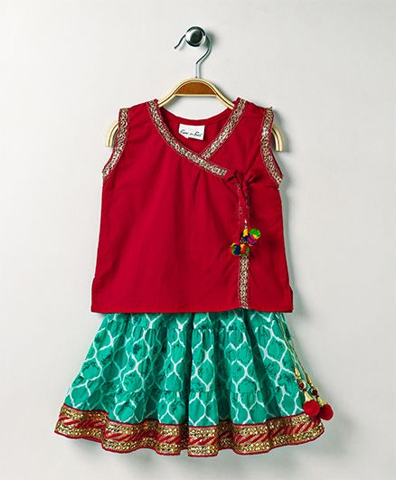 Bownbee Jaipuri Print Ethnic Skirt & Top - Red & Sea Green