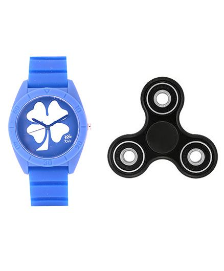 Fantasy World Floral Design Watch & Spinner Combo - Blue & Black