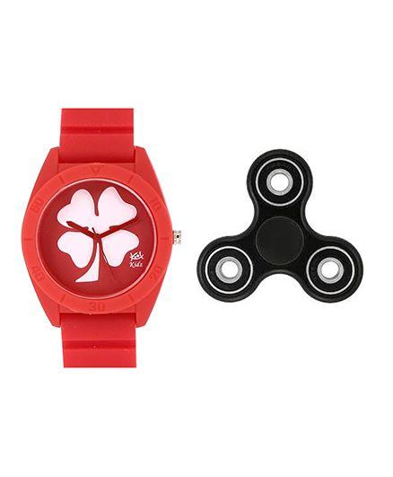 Fantasy World Floral Design Watch & Spinner Combo - Red & Black